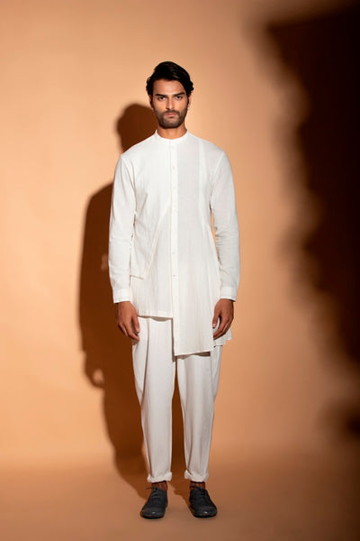 Off White Asymmetric Cotton Kurta