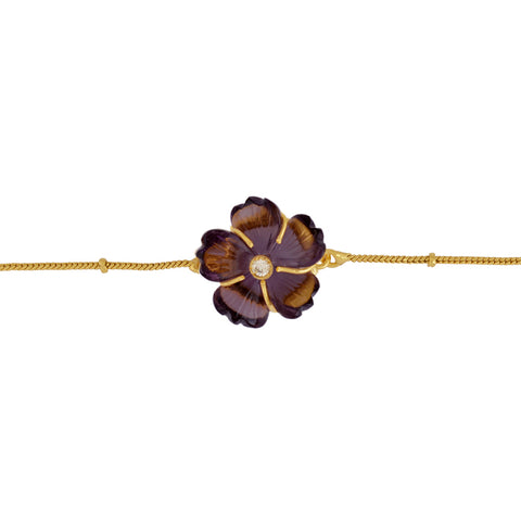 Amethyst Carved Flower Brass Bracelet