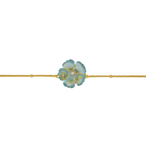 Aqua Carved Flower Brass Bracelet