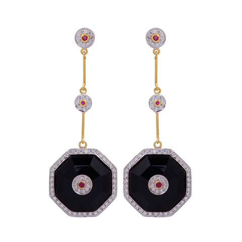 Black ONYX Duke Silver Earrings