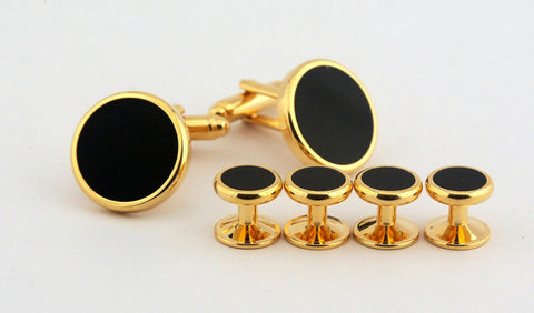 Gold-Black Metal Cufflinks (Set of 6)