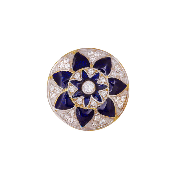 Blue Enamel Floret Buttons In Silver