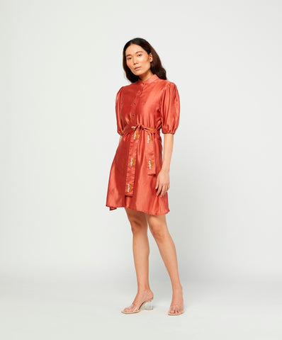 Carmine Embroidered Chanderi Dress