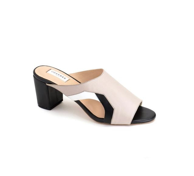 Ivory Pure Leather Mule Heels With Contrasting Detailing On Sides