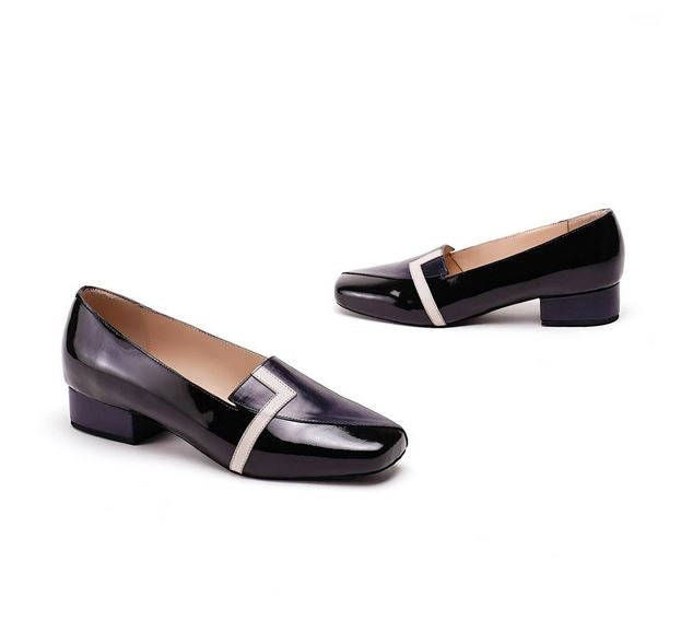 Black Pure Leather Loafer Flats Crafted On Square Toe Design