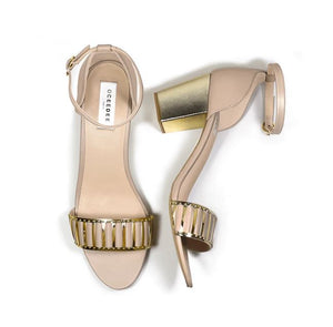 Beige Pure Leather Sandal Heels With Gold Embellishment