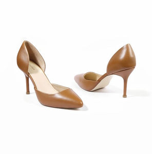 Tan Pure Leather Dual Shade Pointed Pump Heels