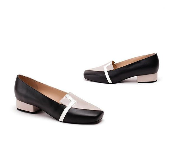 Black & Ivory Pure Leather Loafer Flats Crafted With Square Toe Design