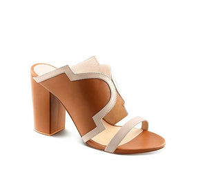 Tan Pure Leather Mule Heels With Contrasting Color Detailing