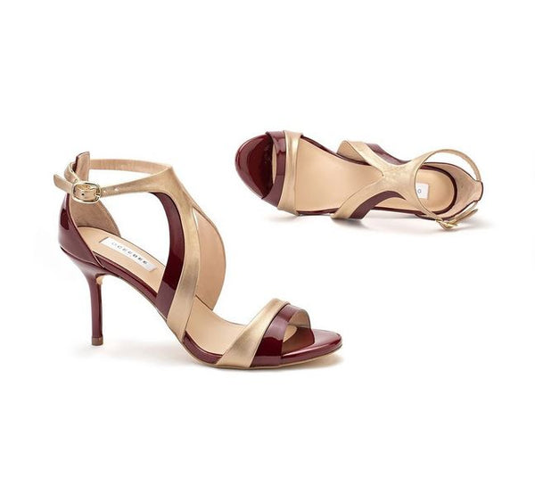 Maroon & Gold Pure Leather Kate Heels