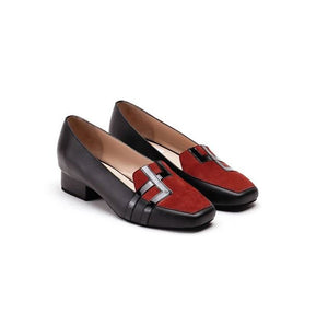 Black & Brown Pure Leather Loafer Flats With Double Square Design