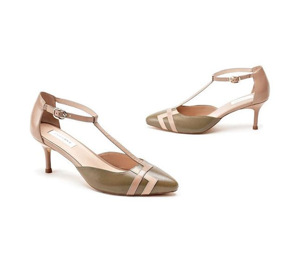 Olive Pure Leather Lucia Pump Heels With Contrast Delicate T Strap