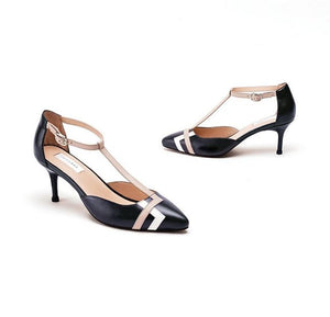 Black Pure Leather Lucia Pump Heels With Contrast Delicate T Strap
