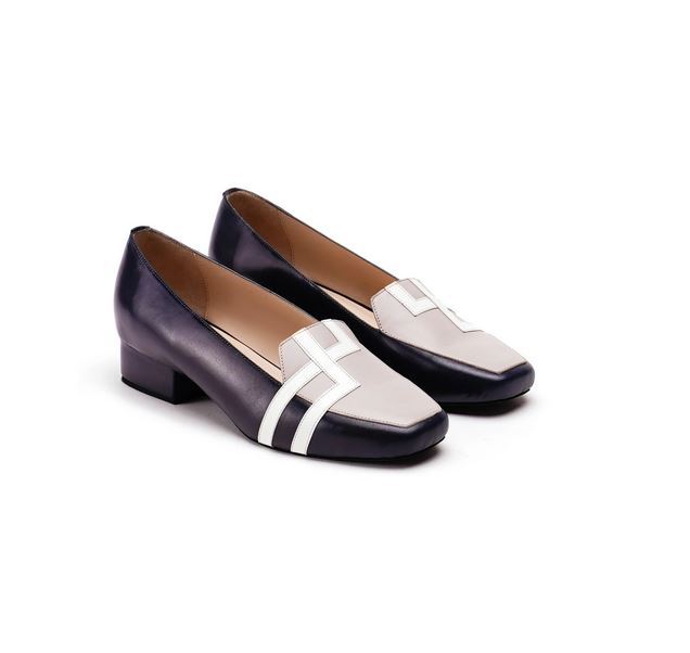 Black & Ivory Pure Leather Loafer Flats With Double Square Design