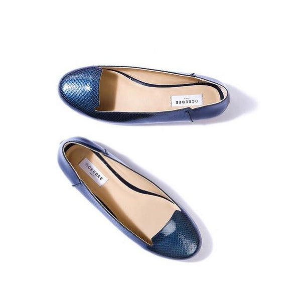 Blue Pure Leather Flats With Apron Toe Design