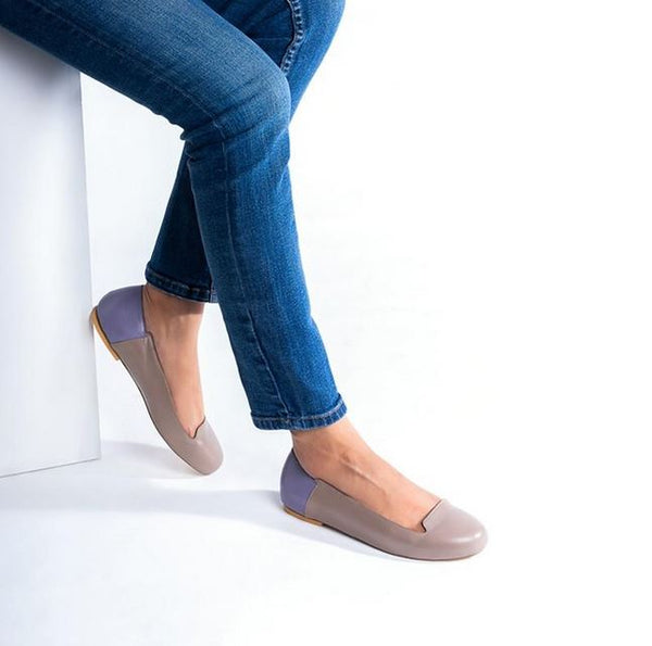 Dull Brown Pure Leather Flats With Apron Toe Design