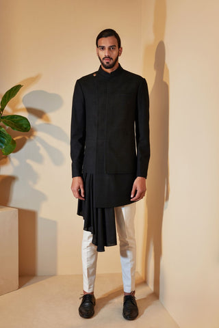 Black Sherwani Set with Side Drape Pattern