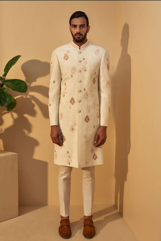 Cream Metal embroidered Sherwani Set