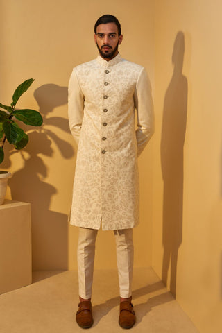Cream Thread Embroidered Sherwani Set