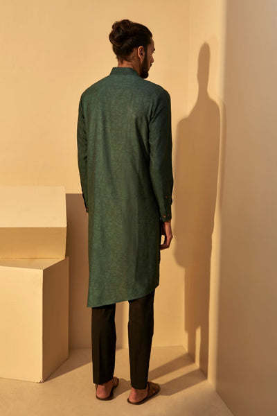 Forrest Green Silk Kurta Set