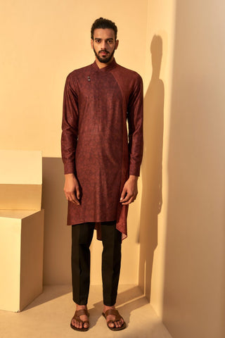 Port Printed Panel Kurta Set