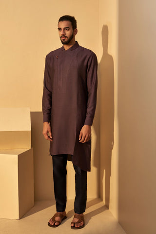 Shadow Plum Silk Kurta Set
