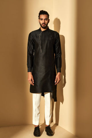 Black Silk Kurta Set