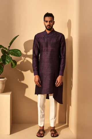 Plum Silk Kurta Set