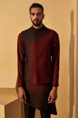 Port Black Dip-Dyed Silk Jawahar Jacket