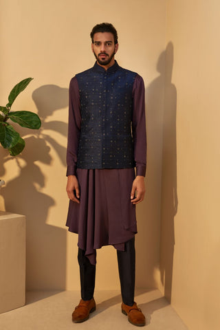 Ash Indigo Metal Embroidered Jawahar Jacket