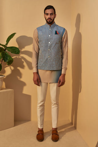 Mineral Blue Jawahar Jacket With Tan Double Shade Short Kurta