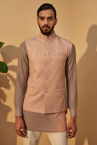 Sand Rose Thread Embroidered Jawahar Jacket With Rose Double Shaded Short Kurta
