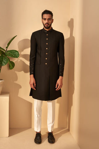 Black Panel Silk Sherwani With Metal Embroidery