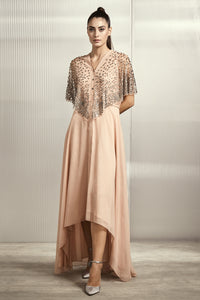 Blush Asymmetric Stripe Chiffon Tunic With Tulle Cape With Metal Stack Embroidery