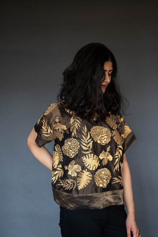 Bronze Chanderi Tissue Top With Gold Embroidery