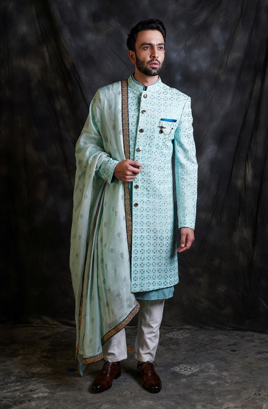 Ice Blue Lucknowi Indo-Western With Shawl