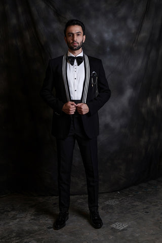 Black Tuxedo With Strip Lapel
