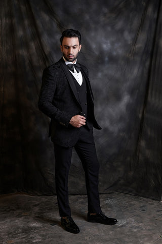 Black Jaquard Tuxedo With Waist Coat