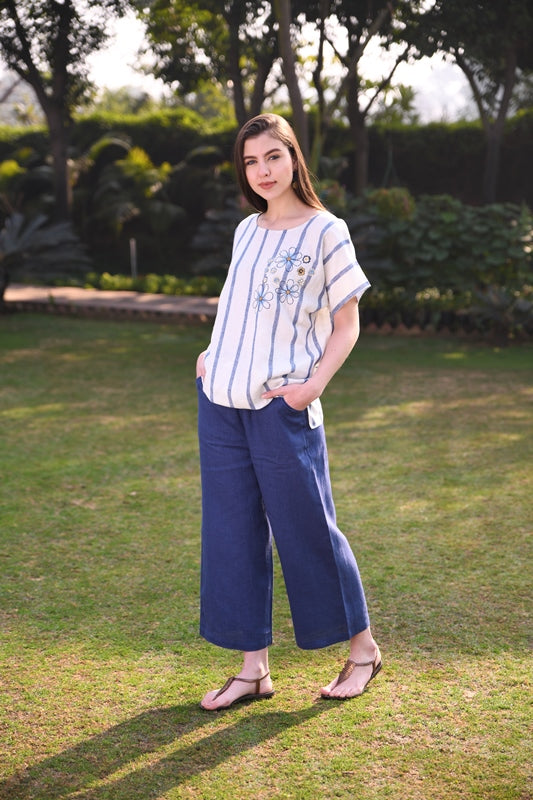 Blue Strip Short Linen Tunic With Multi Color Hand Embroidery