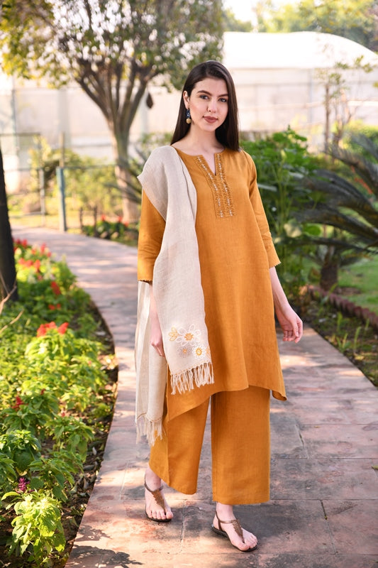 Mustard Pin-Tuck Linen Tunic With Hand Embroidery