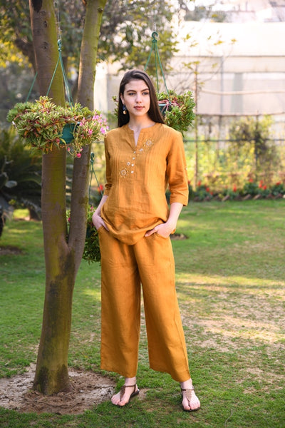 Mustard Drawstring Wide Linen Pants With Elasticated Back