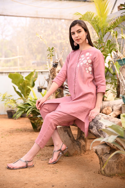 Rose Pink Asymmetric Linen Tunic With Applique Hand Embroidery