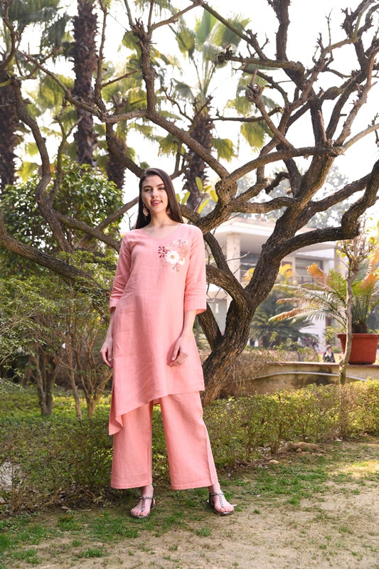 Salmon Asymmetrical Linen Tunic With Floral Hand Embroidery