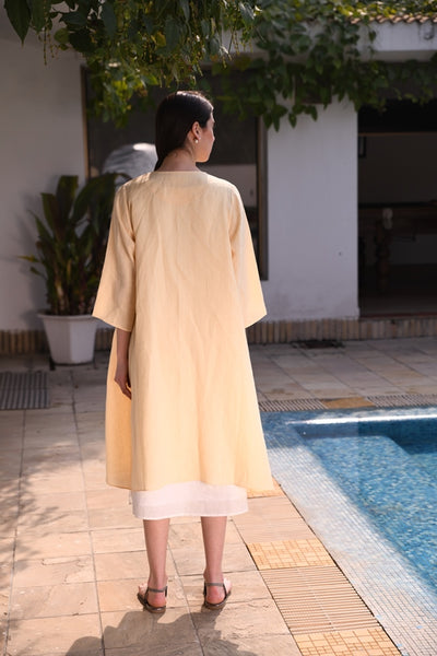 Butter Cup Beige Linen Cape With Front Open & Side Slits