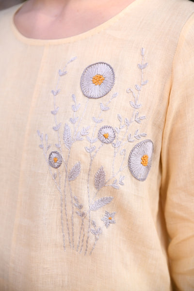 Butter Cup Beige Linen Asymmetric Tunic With Floral Hand Embroidery