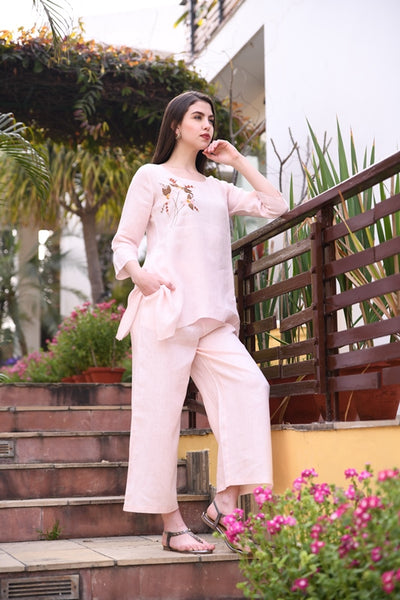 Powder Pink Linen Wide Pleated Pants & Elasticated Back