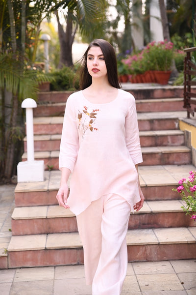 Powder Pink Short Linen Tunic With Floral hand Embroidery