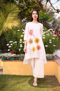 Ivory Hand Painted Straight Linen Tunic