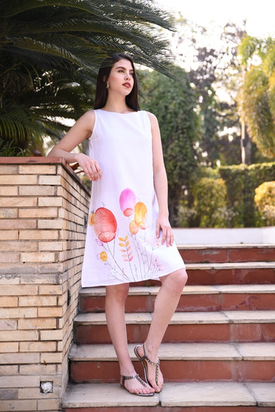 Ivory Hand-painted Sleeveless Linen Dress With Lining