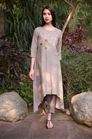Khakhi Asymmetric Long Linen Tunic With Floral hand Embroidery